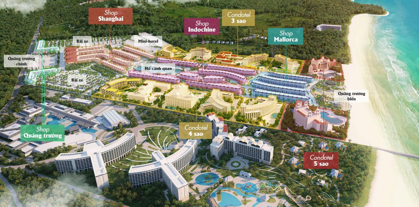 Shophouse Grandworld gồm 4 khu: Khu Quảng Trường, Khu Shanghai, Khu Indochine và khu Mallocca với tổng cộng 979 căn shophouse 5 tầng hoàn thiện theo kiến trúc riêng từng khu